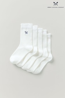 Crew Clothing Company White Embroidered Scallop Edge Socks 5 Pack