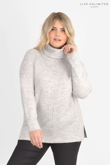 Live Unlimited Curve Grey Roll Neck Boxy Jumper