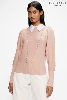 Ted Baker Pink Aledina Denim Knit Sweater With Collar Detail