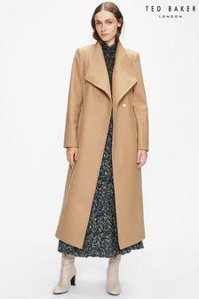 Ted Baker Brown Rosell Long Length Wool Wrap Coat