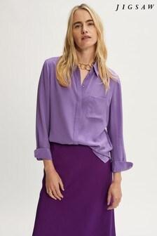 Jigsaw Purple Silk Long Sleeve Shirt