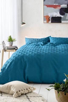 Embossed Geometric Duvet Cover And Pillowcase Set