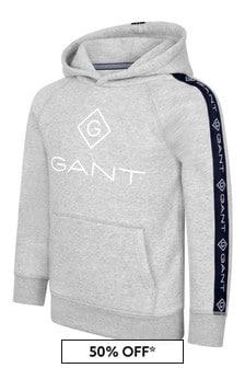 GANT Boys Grey Cotton Logo Hoodie
