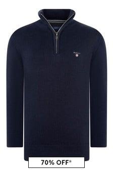 GANT Boys Navy Cotton Half Zip Sweater