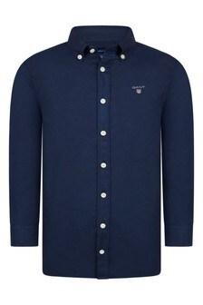 Boys Navy Cotton Twill Shirt