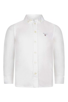 Boys White Cotton Archive Oxford Shirt