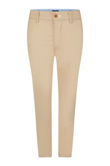 Boys Beige Cotton Chino Trousers