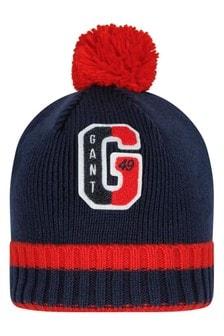 Boys Navy Cotton & Wool Pom Beanie Hat