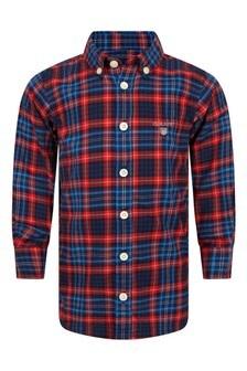 Boys Red & Blue Tartan Cotton Shirt