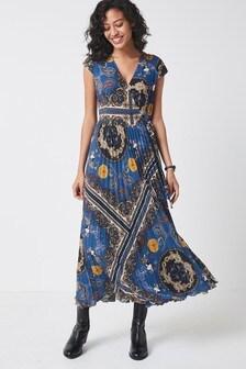 Pleated Wrap Midi Dress
