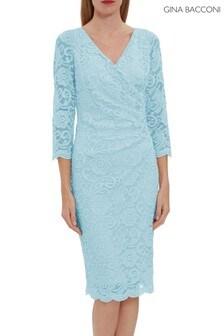 Gina Bacconi Blue Clarinell Stretch Lace Dress