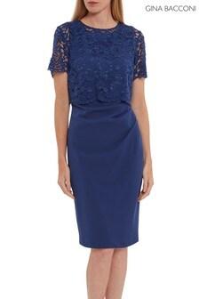 Gina Bacconi Blue Kora Moss Crepe Lace Overtop Dress