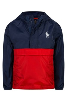 Boys Navy & Red Pullover Jacket
