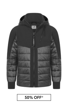Boys Black Padded Hybrid Jacket