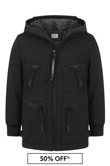 CP Company Boys Black Zip Pocket Goggle Jacket