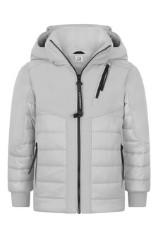 Boys Grey Padded Hybrid Jacket