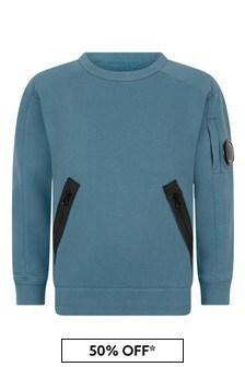CP Company Boys Blue Cotton Crew Neck Sweater