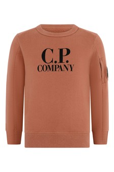 Boys Terracotta Cotton Crew Neck Sweater