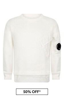 Boys Ivory Cotton Pocket Sweater