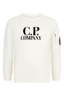 CP Company Boys Melange Cotton Crew Neck Sweater