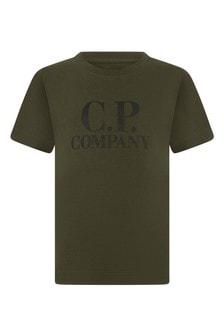 Boys Green Cotton Logo Print T-Shirt