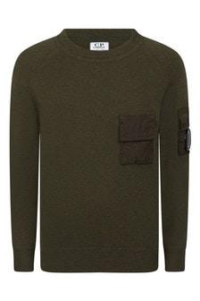 CP Company Boys Olive Green Fine Merino Wool Jumper