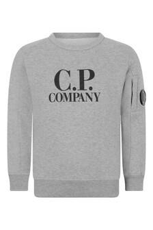 Boys Grey Melange Cotton Crew Neck Sweater