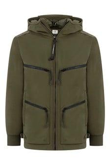 CP Company Boys Green Zip Pocket Goggle Jacket