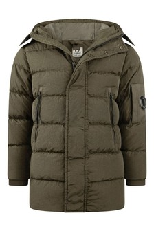 Boys Green Down Padded Long Jacket