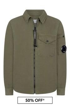 Boys Green Cotton Gabardine Zip Up Shirt