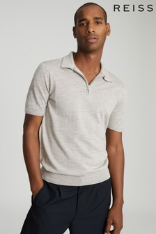 Reiss Neutral Maxwell Merino Wool Zip Neck Polo
