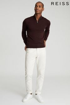 Reiss Blackhall Merino Wool Zip Neck Jumper