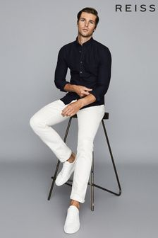 Reiss Navy Greenwich Soft Wash Button Down Oxford Shirt