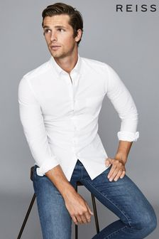 Reiss White Greenwich Soft Wash Button Down Oxford Shirt