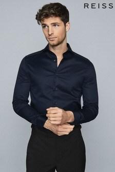 Reiss Navy Storm Two Fold Cutaway Collar Slim Fit Shirt
