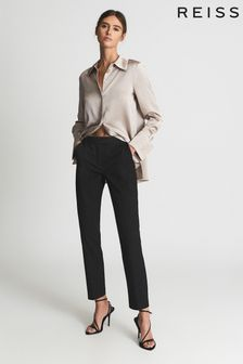 Reiss Black Joanne Cropped Tailored Trousers