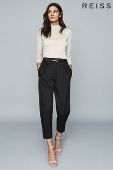 Reiss Black Lennox High Waisted Cropped Trousers