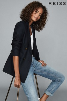 Reiss Navy Larsson Double Breasted Twill Blazer