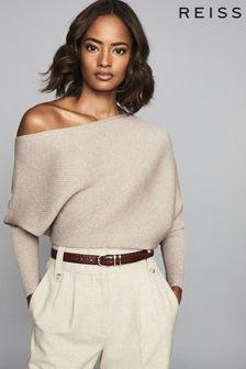 Reiss Camel Lorna Asymmetric Knitted Top