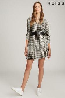 Reiss Evie Geo Print Pleated Mini Dress