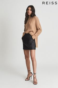 Reiss Black Eliza Leather Mini Skirt