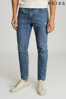 Reiss Blue Asil Distressed Slim Fit Jeans