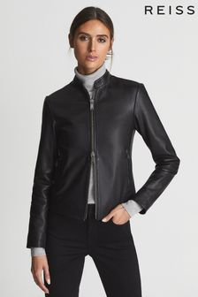 Reiss Black Allie Leather Collarless Biker Jacket