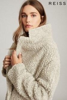 Reiss Grey Sky Wool Blend Teddy Coat