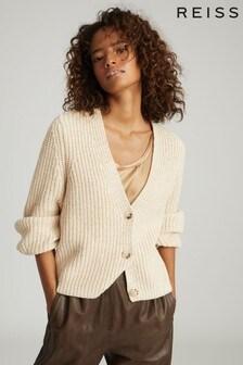 Reiss Camel Olivia Cotton Blend Short Cardigan