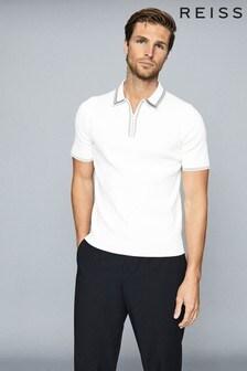 Reiss Stetson Tipped Zip Neck Poloshirt
