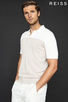 Reiss Natural Alessano Press Stud Colourblock Poloshirt