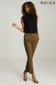 Reiss Khaki Joanne Cropped Tailored Trousers