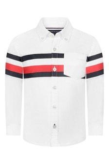 Boys White Organic Cotton Striped Shirt