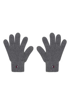 Kids Grey Organic Cotton Flag Knit Gloves